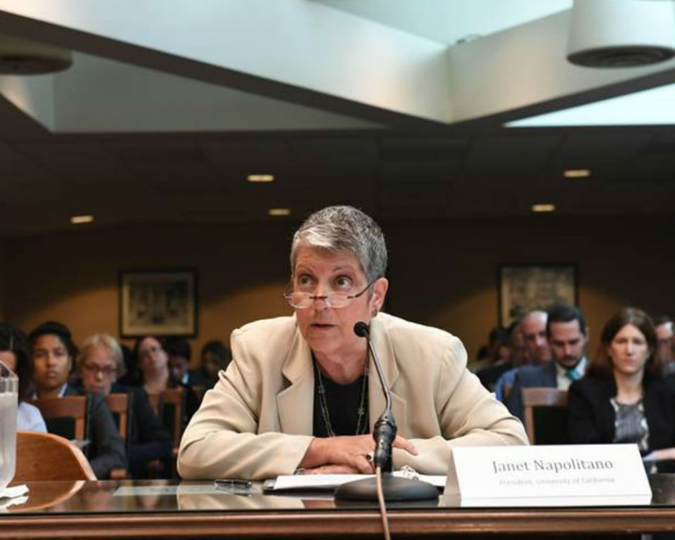 Janet Napolitano, President of the University of California, convenes in front of the committee with an overview and status of higher education in California. (Assembly Democratic Caucus)