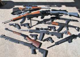 Various firearms which can be legally purchased throughout the U.S. (Adam Gilles/Lariat)