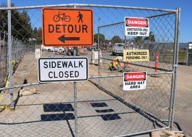 The sidewalk near the baseball field is closed to due to construction. (Daniela Sanchez/Lariat)
