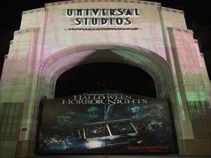 Universal Studios sets up its entrance for Halloween Horror Nights to display it's Titans Of Terror Tram. (Maria Marquez/ Lariat)