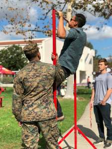 The Marines set up a pull up bar and held a contest outside of the quad.