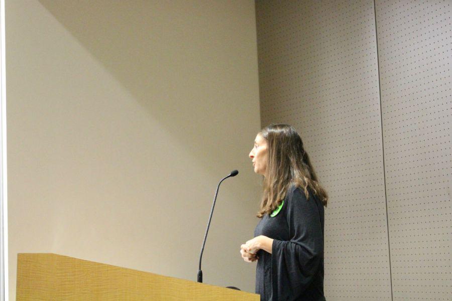Saddleback College Sociology Professor Allison Camelot addresses the South Orange County Community College District Board of Trustees (Joseph Fleming/Lariat)