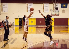Kayla De Leon jumps to score a three-point jump shot. (Ally Beckwitt/Lariat)