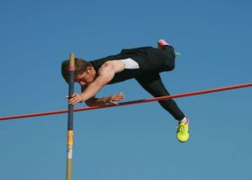 Freshman Jordan Robart sticking the landing during pole vault practice. (Courtesy of Jordan Robart)