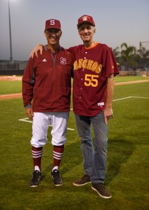 Saddleback College President Gregory Anderson (right) with head coach Sommer McCartney (left) at the grand re-opening of Fritz Field on Thursday, Feb. 8, 2018. (Richard Eldridge)