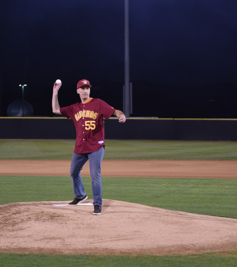 Saddleback College President Gregory Anderson throws out the first pitch at the grand re-opening of Fritz Field on Thursday, Feb. 8, 2018. (Richard Eldridge)