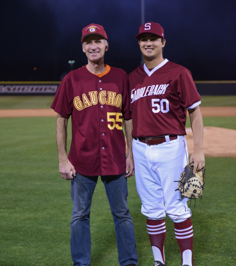 Saddleback College President Gregory Anderson (left), with pitcher Daniel Harris at the grand re-opening of Fritz Field on Thursday, Feb. 8, 2018. (Richard Eldridge)