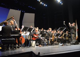 Saddleback College's Big Band performs at the McKinney Theatre on Saturday, Feb. 24, part of Jazz Days. (Andrea Clemett/Lariat)