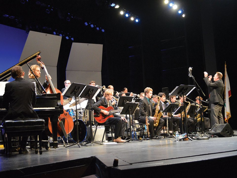 Saddleback College's Big Band performs at the McKinney Theatre on Saturday, Feb. 24, part of Jazz Days. (Andrew Clemett/Lariat)