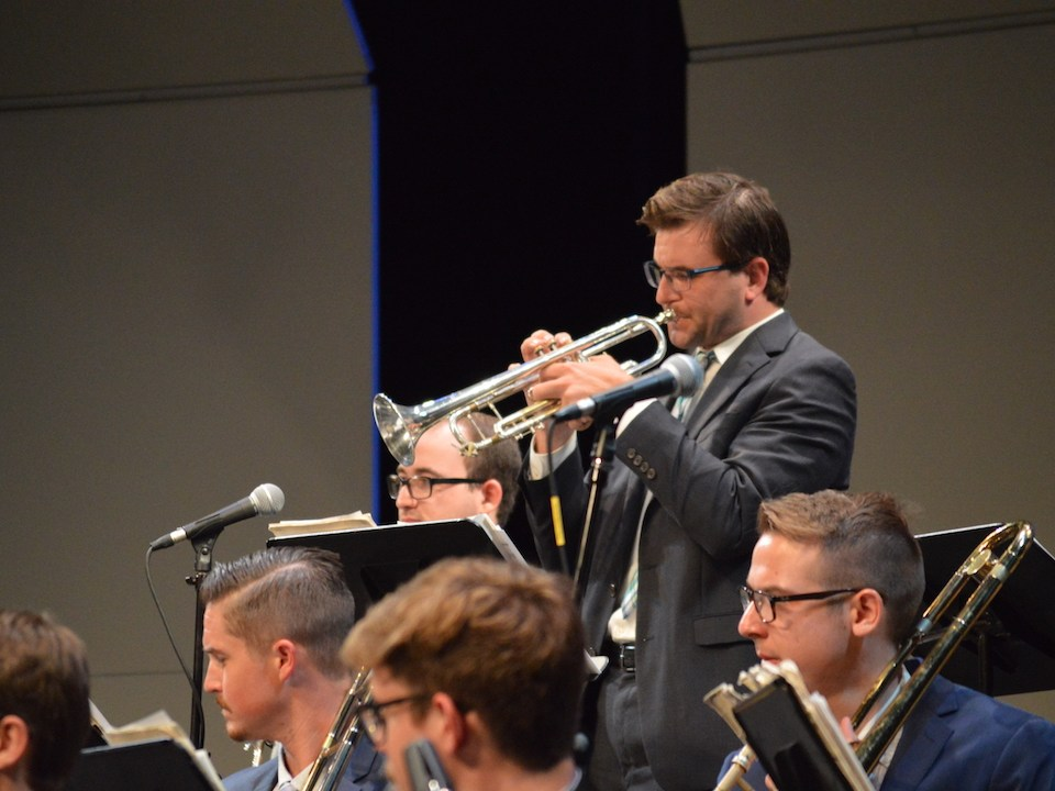 Trumpeter Ian Holmquist solo captured the rhythm of a featured jazzchart. (Andrea Clemett/ Lariat)