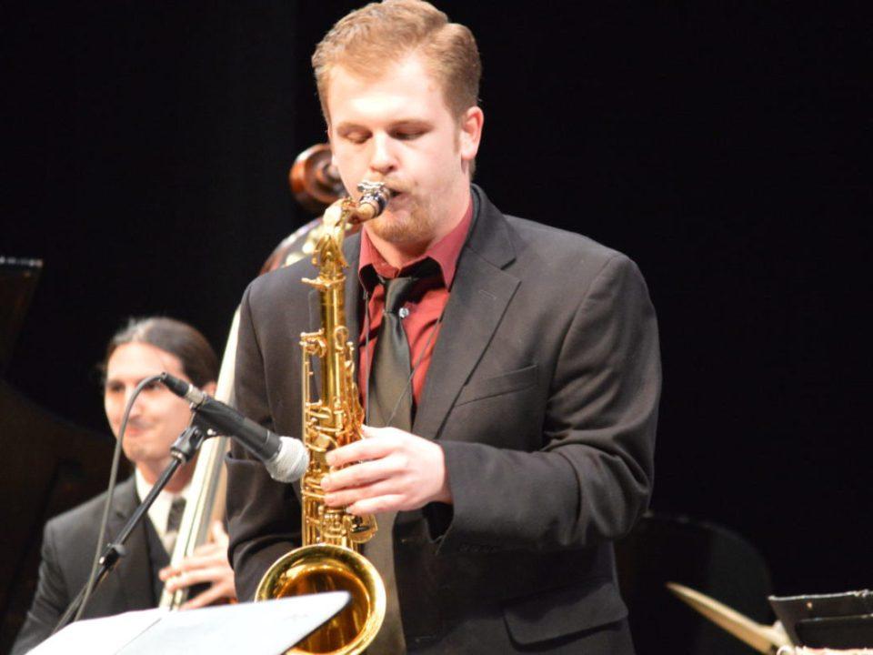 Student composer Dan Rowe performs solo at concert McKinney Theatre. (Andrea Clemett/ Lariat)