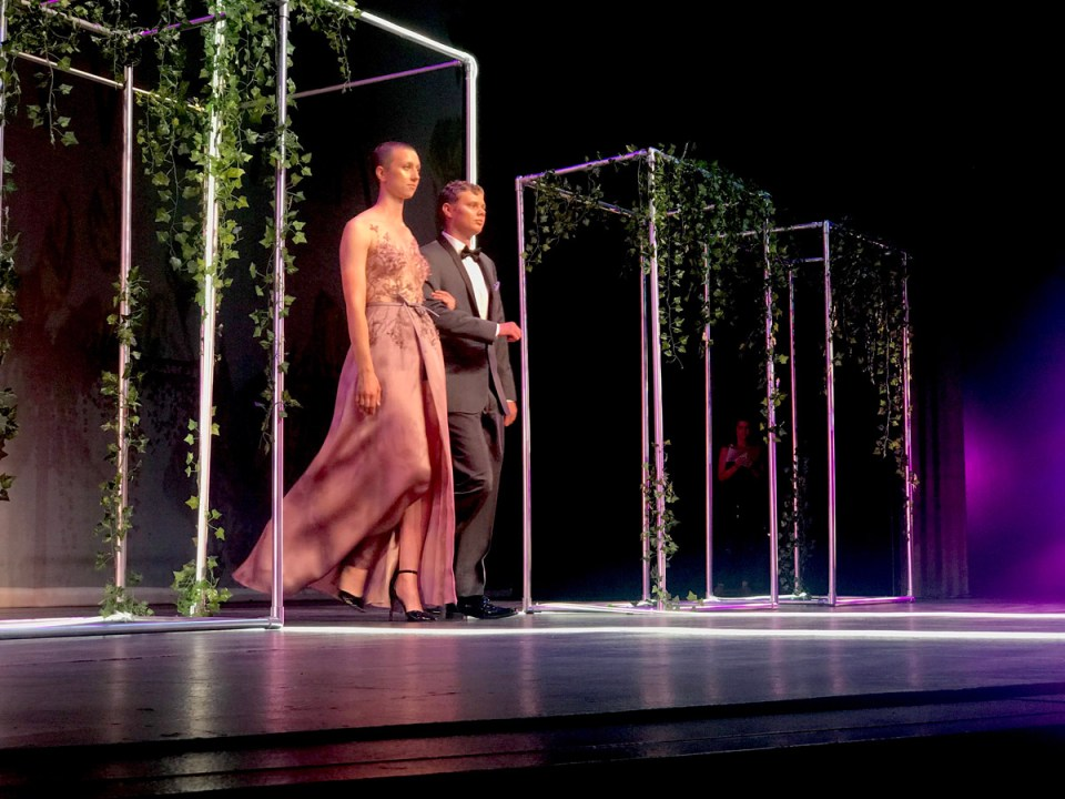 The evening gown designed by Zheela Saberi' won first place in the Evening Wear category. (Holly Broxterman/Lariat)