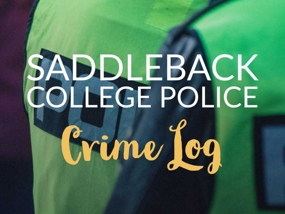 "The words ""Saddleback College Police Crime Log"" embellished over a pair of individuals wearing green police vests. (Ashley Hern)"