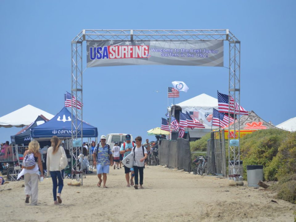 USA Surfing championships compete in playful 2-4 foot south swell conditions at Lower Trestles San Clemente, California. (Andrea Clemett/Lariat)