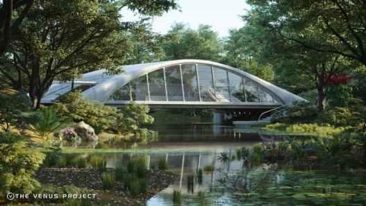 Modello del Venus Project: Casa del futuro sopra un canale