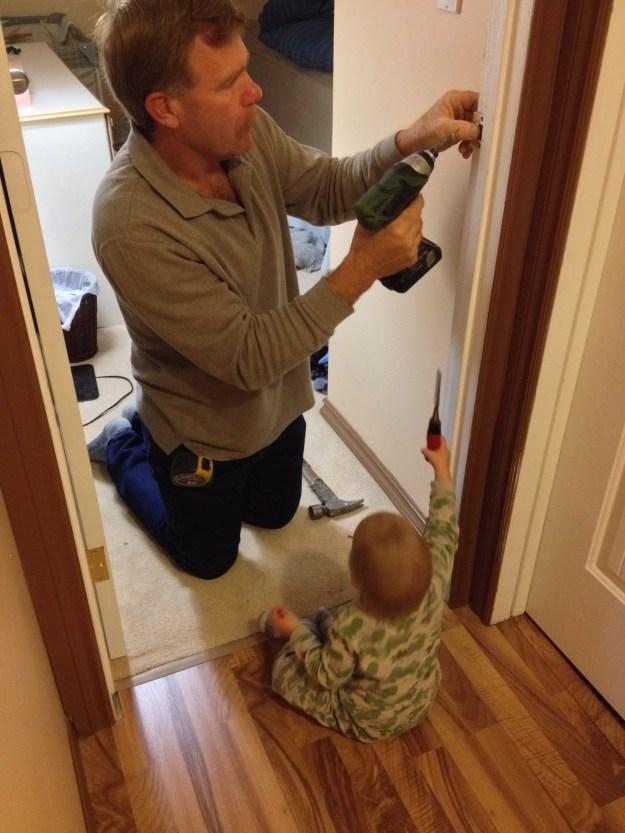 Calvin helping Grandpa fix things.