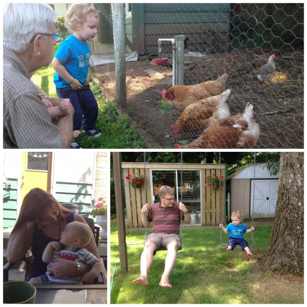 Checking out Opa's chickens. Getting to know Aunt Sylvia. Learning to swing in Opa's backyard.