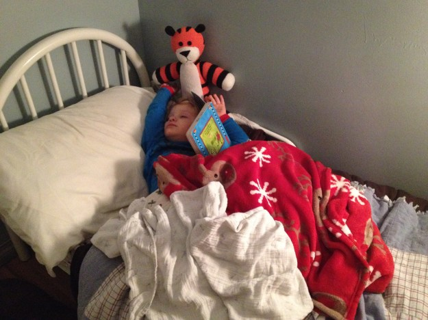 And these days it is falling asleep while reading books to himself.