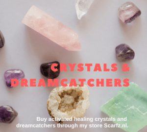 magical healing crystals and handmade dreamcatchers