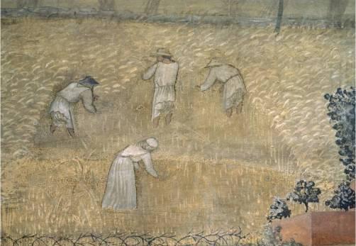 Effetti del Buongoverno, particolare dei mietitori in campagna, Ambrogio Lorenzetti, Siena, 1337-1339