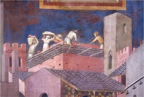 Effetto del Buon Governo i muratori lavorano, Ambrogio Lorenzetti, 1337-1339, Siena