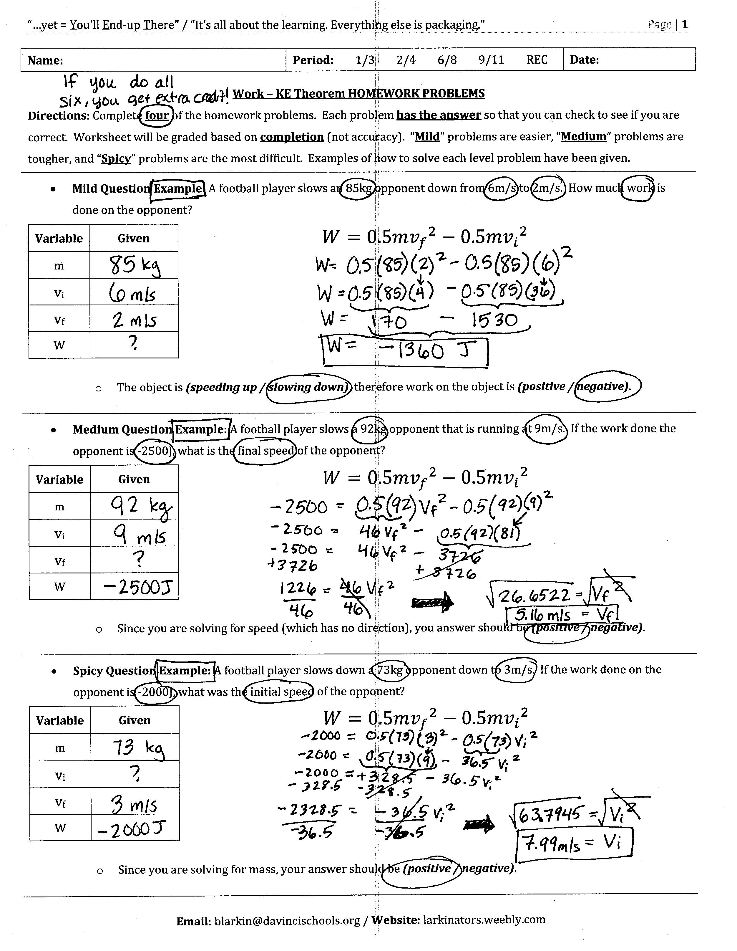 Work Energy And Power Worksheet