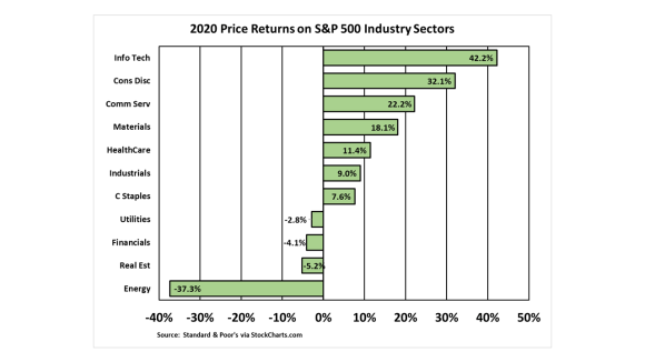 S&P 500 Industry Sector Returns for 2020