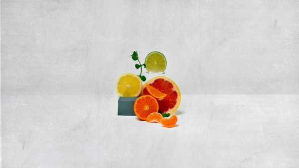 a sprig of mint with slices of oranges, lemons and limes stacked up