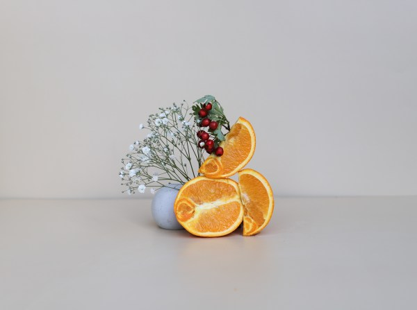 sliced orange, cranberry and white flowers