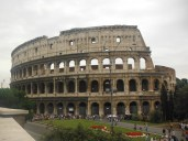 The famous Colosseum has three walls and had multi levels for seating organized by social class. Christian persecution took place here until emperor Constantine stopped this practice. In time the activities stopped here entirely and it fell in disrepair as scavengers stole parts to build the Basilica.
