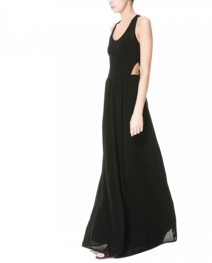 Robe De Soiree Longue Zara 2013 Noire Ouverte Dos La