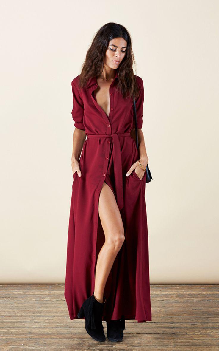 Robe Longue Rouge Bordeaux Boutonnee La Robe Longue