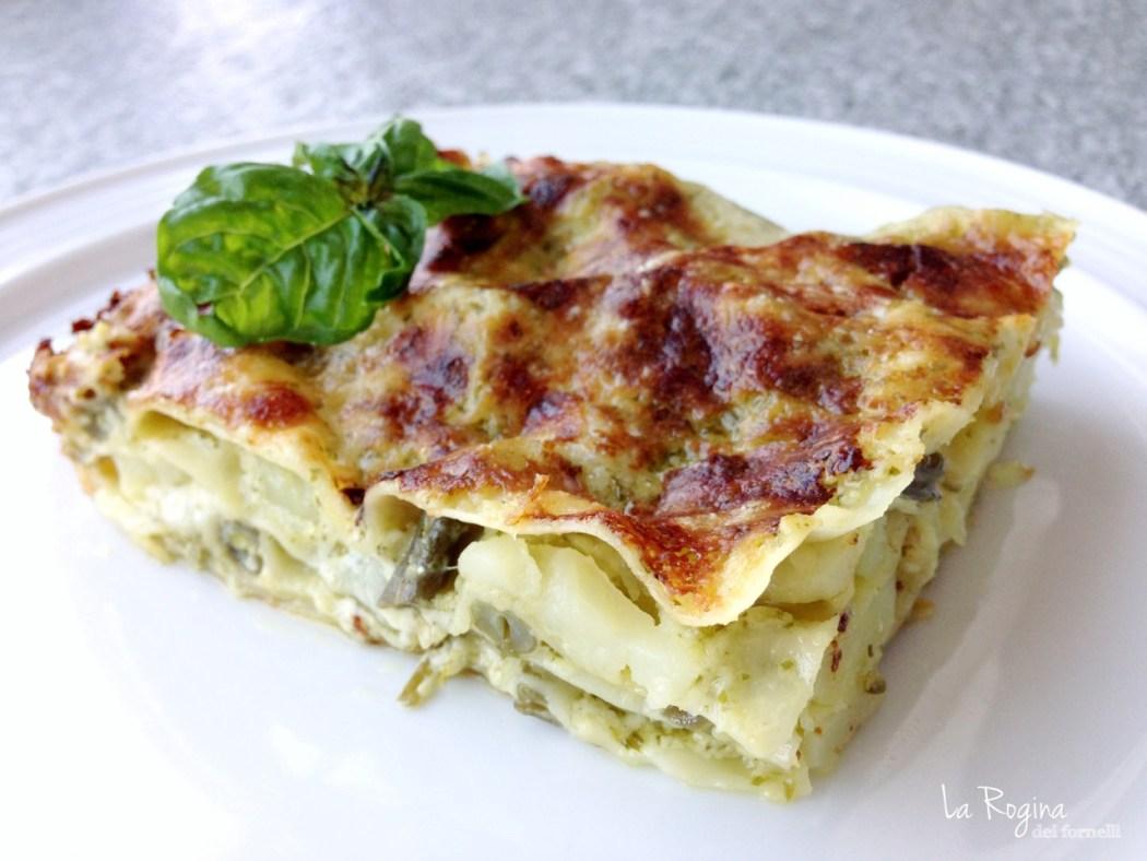 lasagne pesto patate e fagiolini
