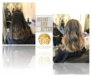 Ladies cut style and highlight and blowdry