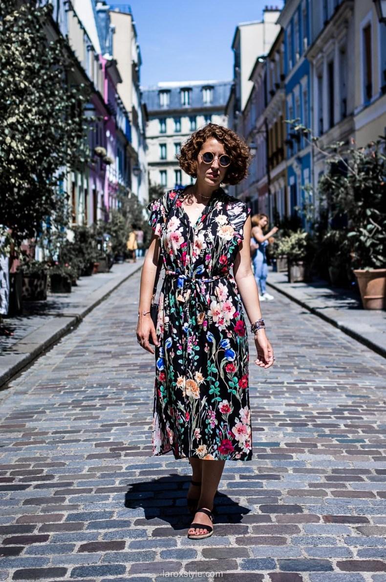 Paris - rue cremieux - robe longue a fleurs - street style paris