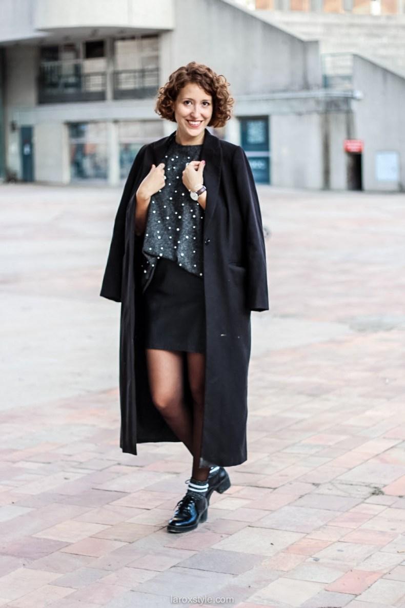 laroxstyle - blog mode lyon - look pull perles - look jupe simili cuir -1