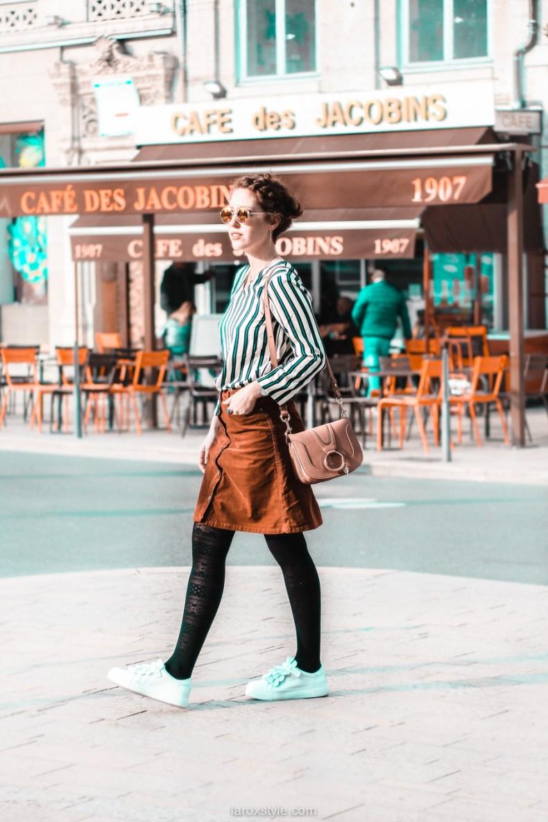 jupe velours cotele - top rayures - look vintage - destockage en ligne - modz - blog mode lyon - © laroxstyle-21