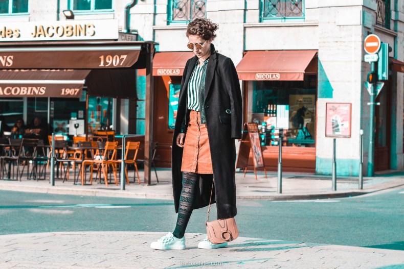jupe velours cotele - top rayures - look vintage - destockage en ligne - modz - blog mode lyon - © laroxstyle-6