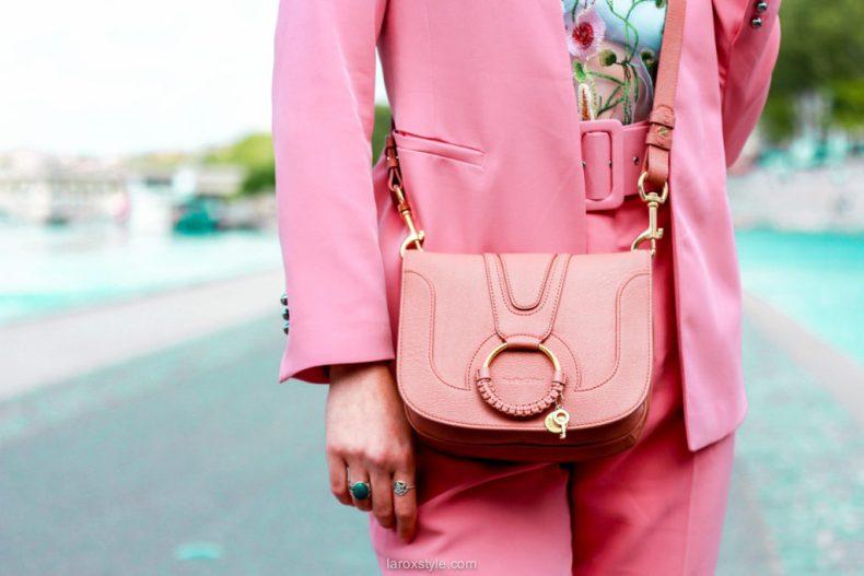 sac see by chloe - tailleur pantalon rose