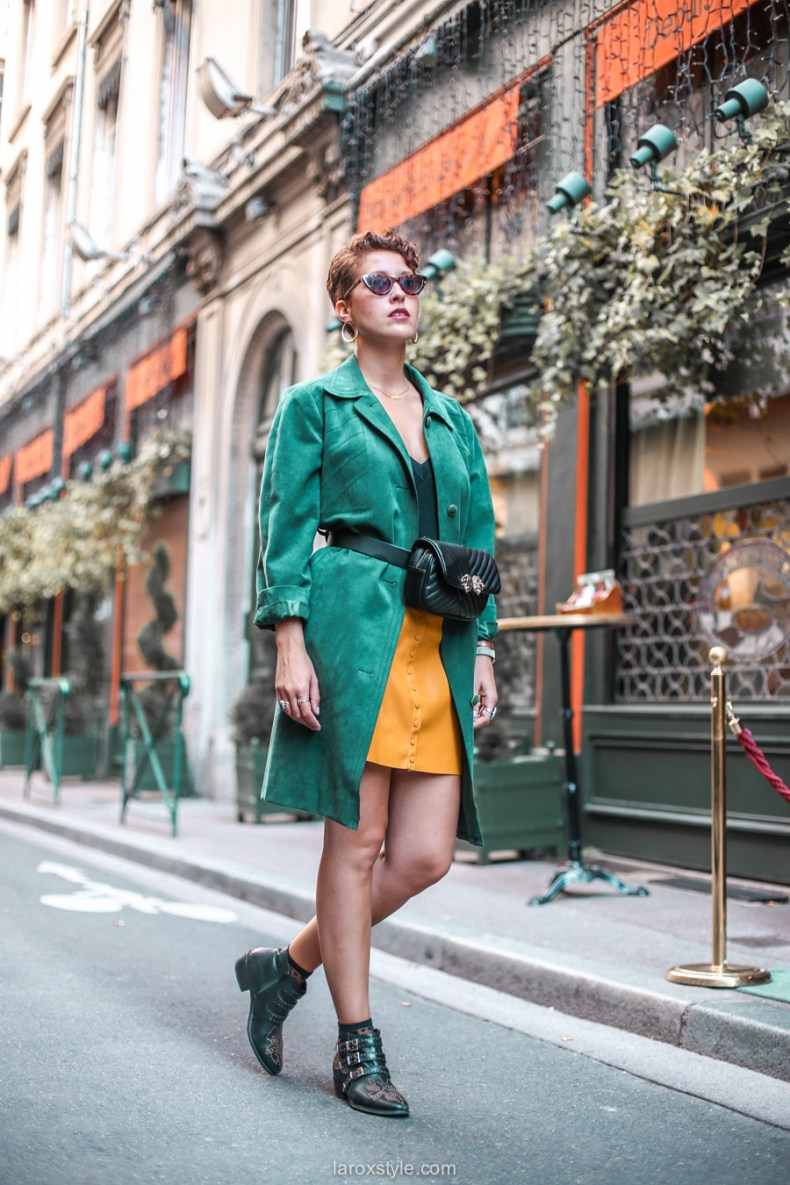 blog mode - look trench vert - jupe moutarde -1