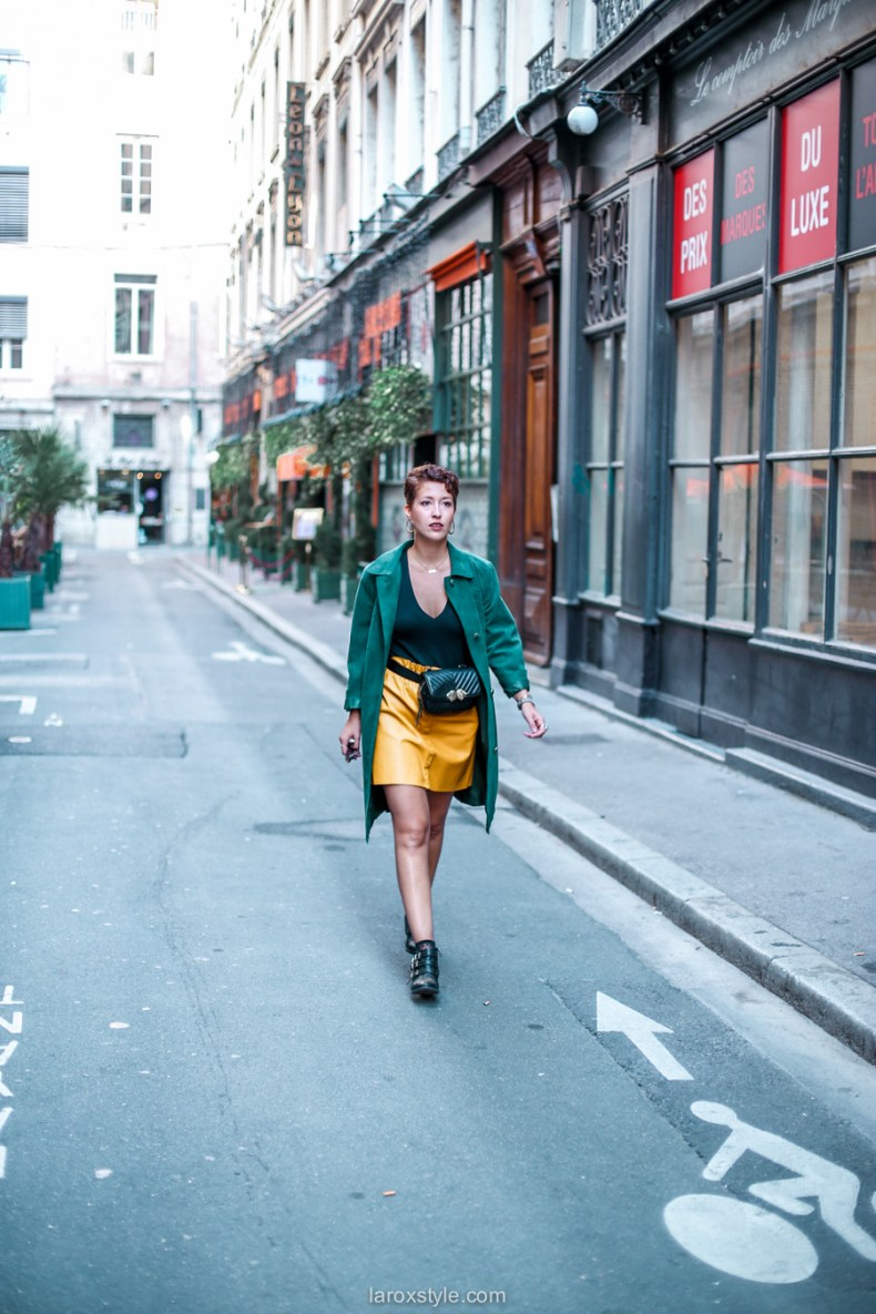 blog mode - look trench vert - jupe moutarde -25