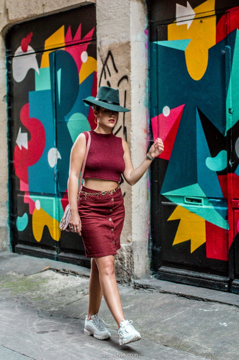 idee look jupe en velours et baskets - blog mode lyon-34