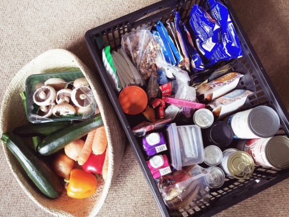 Baskets of healthy food for LARP