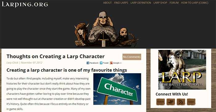 Introduction to LARPING.ORG