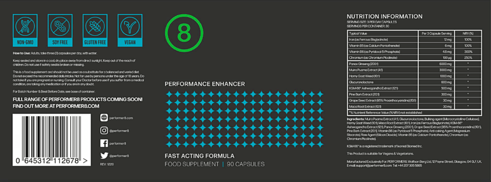 Performer 8 Supplement Facts
