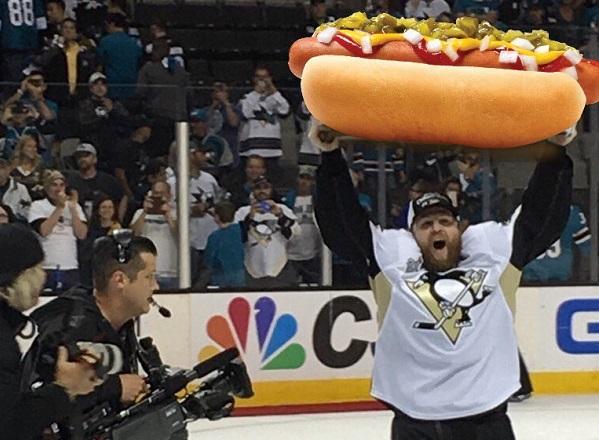 Image result for NHL holding up a hot dog