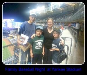 Family at baseball game.