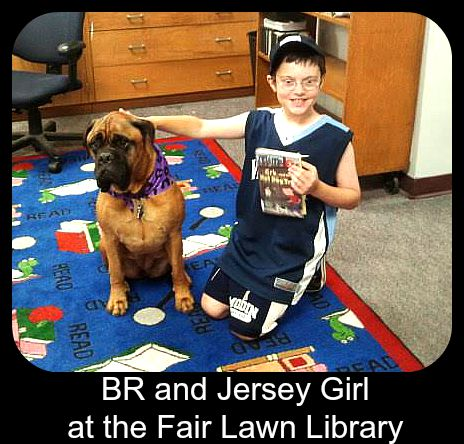 BR & Jersey Girl, therapy dog, at the F air Lawn Library