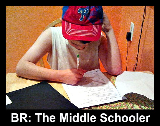 BR: The middle school boy hard at work.