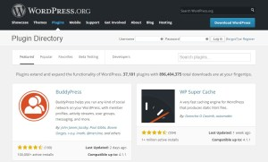 Screenshot of WordPress Plug-in directory page
